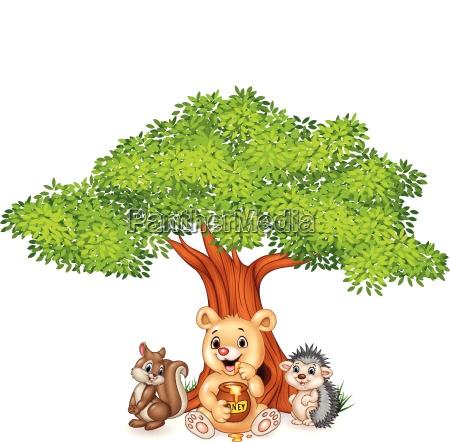 cartoon funny animal on the tree
