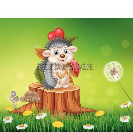 cartoon funny hedgehog sitting on tree