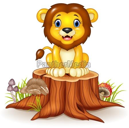 happy cartoon lion sitting on tree