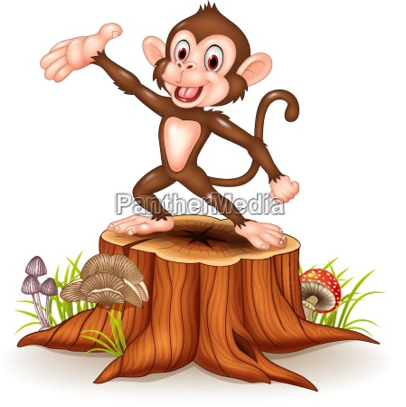 cartoon happy monkey presenting on tree