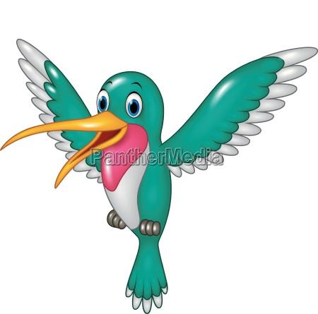 cartoon lustige kolibris fliegen isoliert auf
