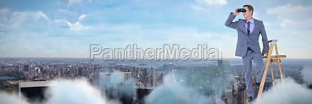 composite image des gluecklichen geschaeftsmannes mit
