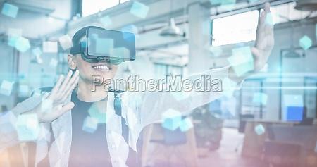 zusammengesetztes bild von futuristischem bildschirm mit