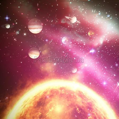 zusammengesetztes bild von planeten ueber sonne