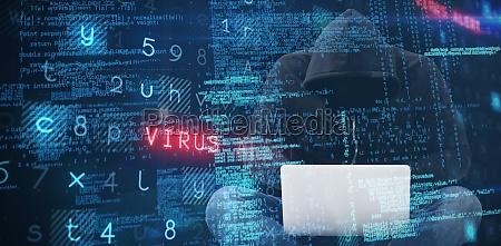 zusammengesetztes bild des maennlichen hackers der