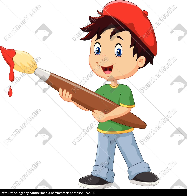 Kleiner Junge Malt Mit Pinsel Lizenzfreies Foto 25092536 Bildagentur Panthermedia