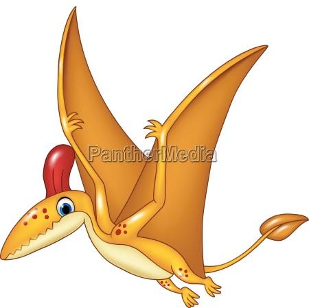 cartoon funny pterodactyl flying isolated on