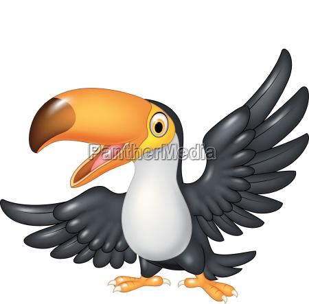 cartoon lustigen toucan isoliert auf weissem