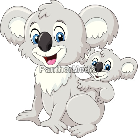 cartoon lustiges baby koala auf mutter