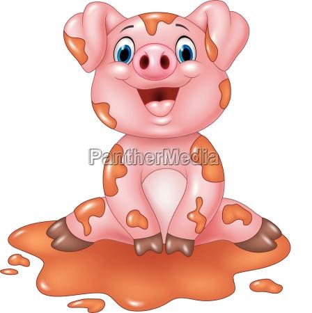 karikatur lustiges schwein im schlamm sitzt