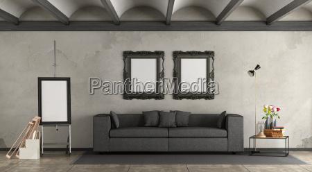 retro living room with modern sofa