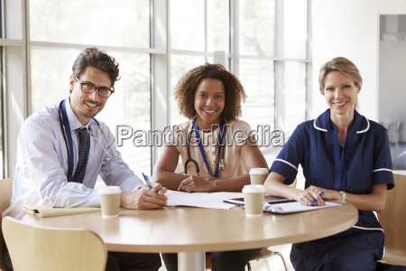 senior healthcare workers in a meeting