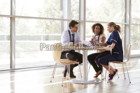 three senior healthcare workers in a