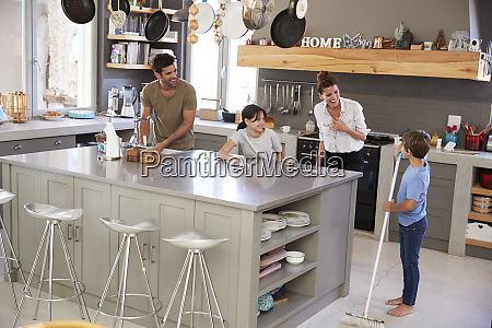 children helping parents with domestic chores