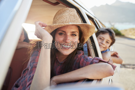 portrait of mother and children relaxing