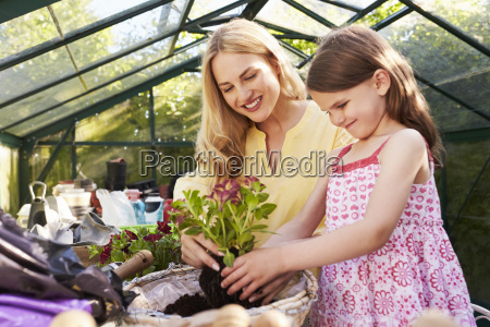 mother and daughter planting hanging basket