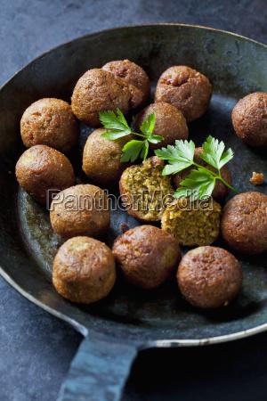 vegan vegetable balls and parsley leaf