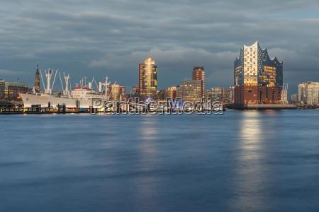 germany hamburg harbour and elbe philharmonic