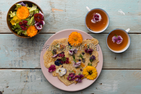 pancake with edible flowers pumpkin flower