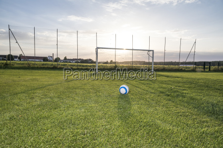 ball lying on football ground at
