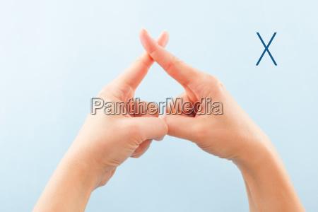 bsl fingerspelling alphabet x