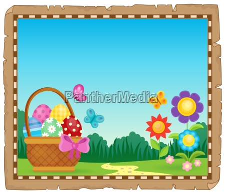 parchment with easter basket theme 1