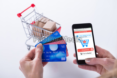 person shopping online with credit cards