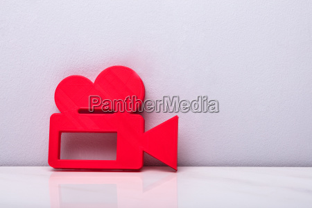 3d red video camera icon