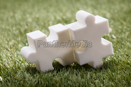 elevated view of two jigsaw puzzle