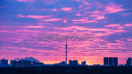 panoramic view of moscow city at