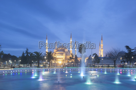 the blue mosque at night as