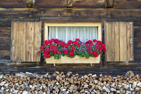 window of an alpine hut and
