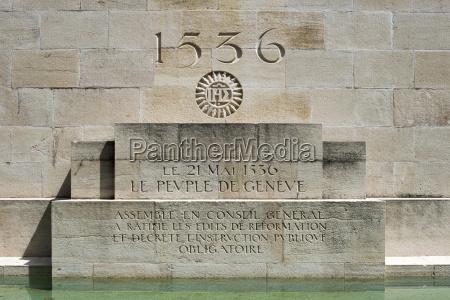 memorial and inscription geneva became protestant