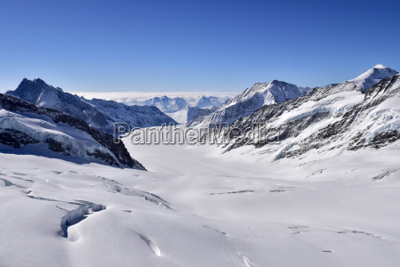 aletsch glacier view from jungfraujoch switzerland
