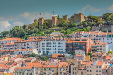 lissabon portugal stadt skyline ueber santa