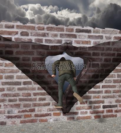 mann klettert durch merkel raute auf