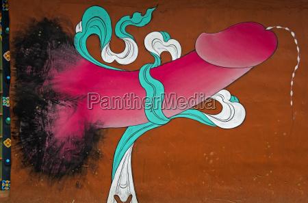 phallus kult traditionelle wandmalerei mit phallus