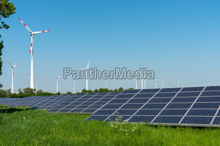 wind turbines and solar cells in