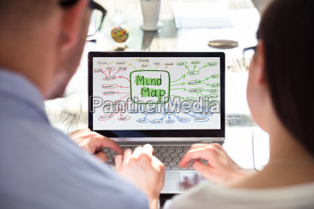 two businesspeople making mind map