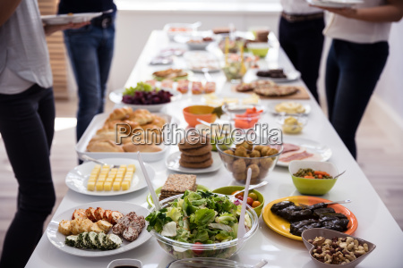table filled with fresh food