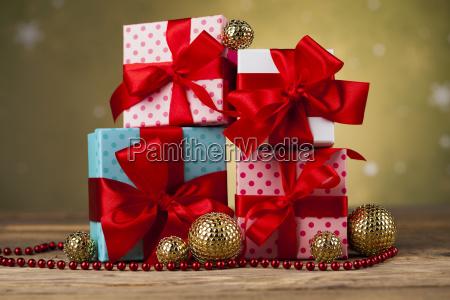 satz der geschenkboxweihnachtshintergrund
