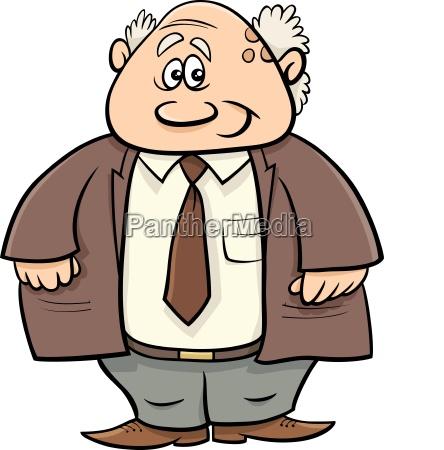 senior man professor cartoon illustration
