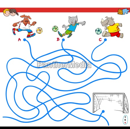 paths maze game with soccer animals