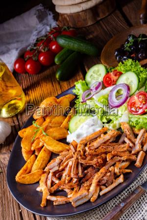 rustic gyros plate it green salad