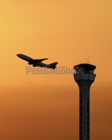 tower travel traffic transportation sunset aircrafts