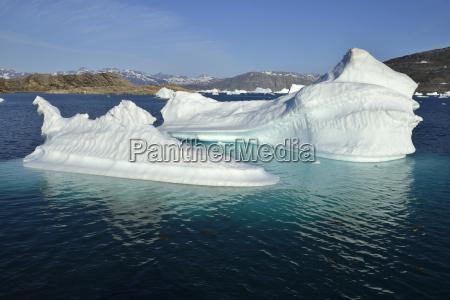 ein eisberg treibt im tasiilaartik fjord