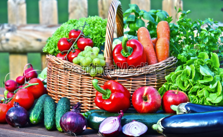 variety of fresh organic vegetables in
