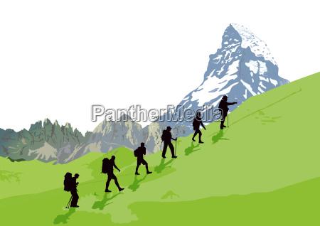 bergsteiger vor bergkulisse illustration
