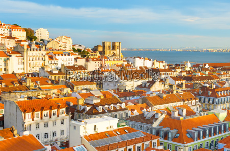skyline lisbon old town portugal
