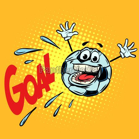 goal happy fan football soccer ball